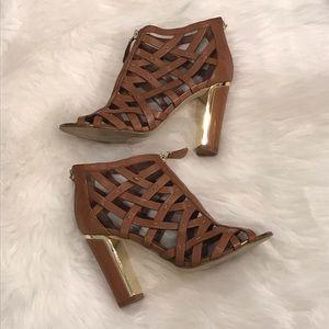 Ivanka Trump Iterica Leather Peeptoe Chunky Heels